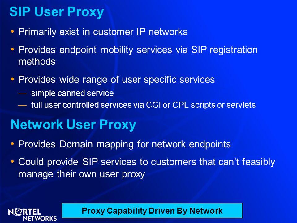 SIP User Proxy Primarily exist in customer IP networks Provides endpoint mobility services via SIP registration methods Provides wide range of user sp