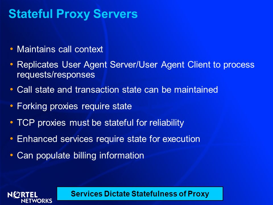 Stateful Proxy Servers Maintains call context Replicates User Agent Server/User Agent Client to process requests/responses Call state and transaction