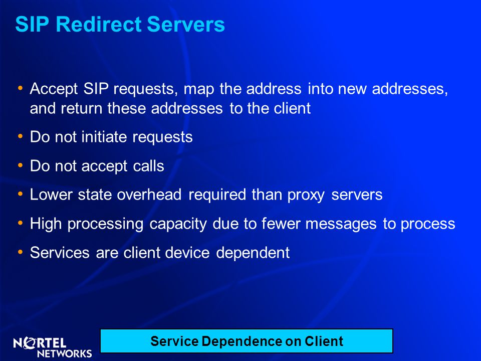 SIP Redirect Servers Accept SIP requests, map the address into new addresses, and return these addresses to the client Do not initiate requests Do not