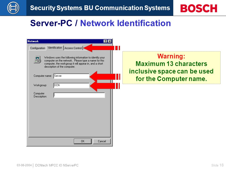 Security Systems BU Communication Systems Slide 17 DCNtech MPCC IO NServerPC 03-06-2004 Server-PC / Network … Configuration
