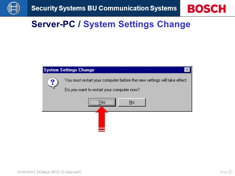Security Systems BU Communication Systems Slide 19 DCNtech MPCC IO NServerPC 03-06-2004 Server-PC / Network Access Control