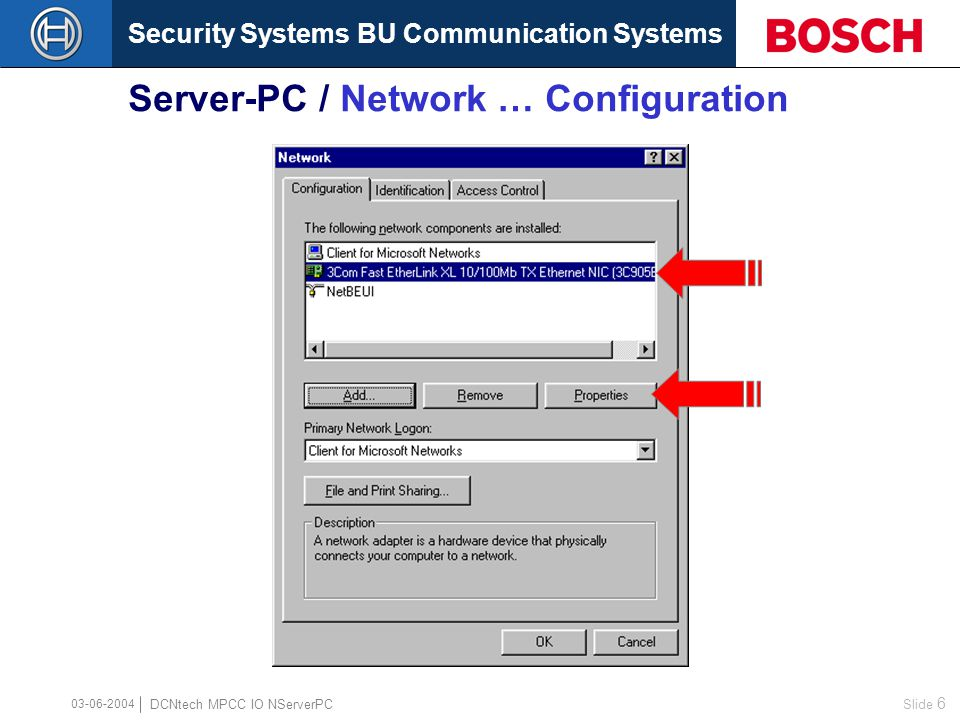 Security Systems BU Communication Systems Slide 5 DCNtech MPCC IO NServerPC 03-06-2004 Server-PC / Network … Configuration
