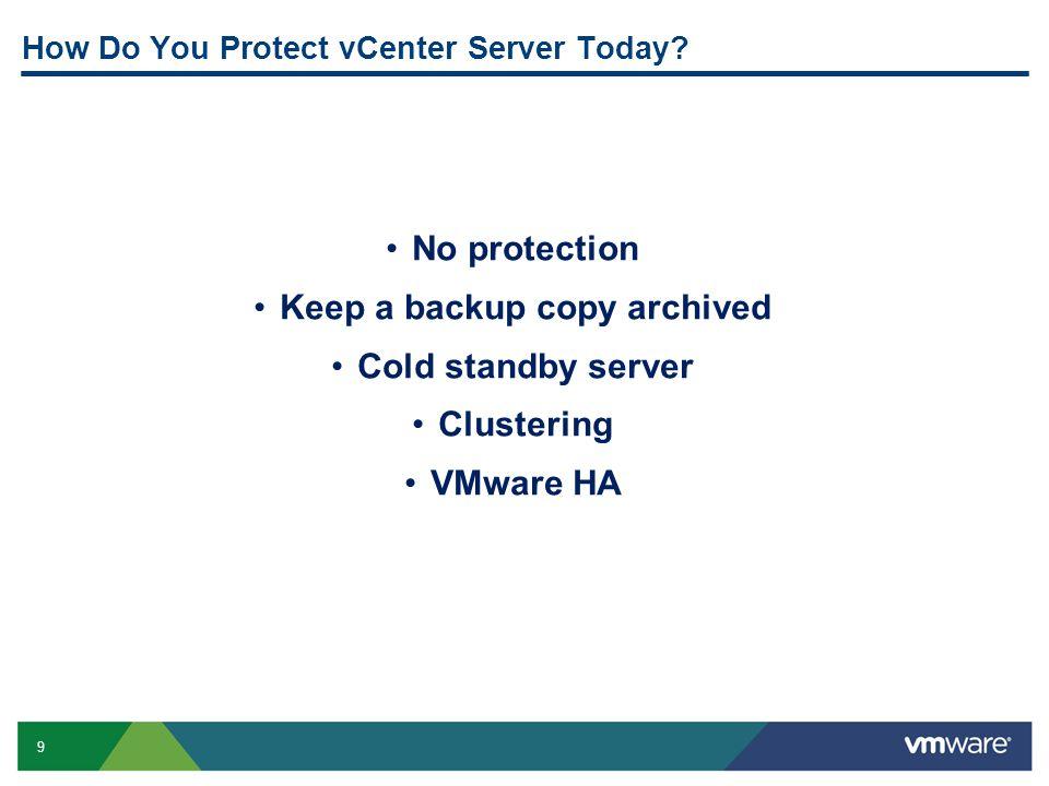10 Protecting vCenter Server vCenter Services vCenter Inventory Standard DR Solution vCenter Server (Primary) Replication of state files vCenter Server (Standby) Database Server