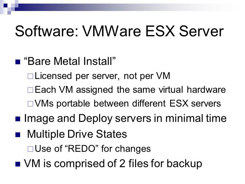 Software: VMWare ESX Server Bare Metal Install  Licensed per server, not per VM  Each VM assigned the same virtual hardware  VMs portable between different ESX servers Image and Deploy servers in minimal time Multiple Drive States  Use of REDO for changes VM is comprised of 2 files for backup
