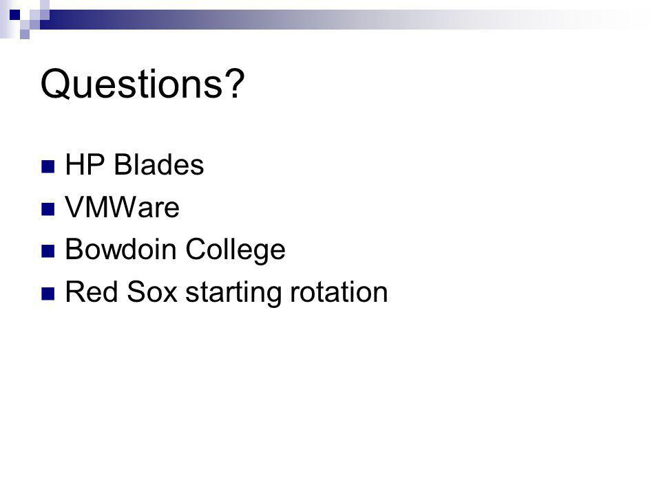 Questions HP Blades VMWare Bowdoin College Red Sox starting rotation