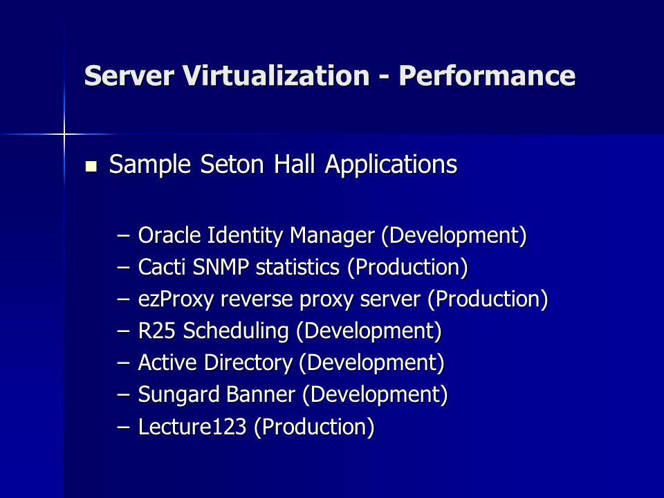 Server Virtualization - Performance Sample Seton Hall Applications Sample Seton Hall Applications –Oracle Identity Manager (Development) –Cacti SNMP statistics (Production) –ezProxy reverse proxy server (Production) –R25 Scheduling (Development) –Active Directory (Development) –Sungard Banner (Development) –Lecture123 (Production)