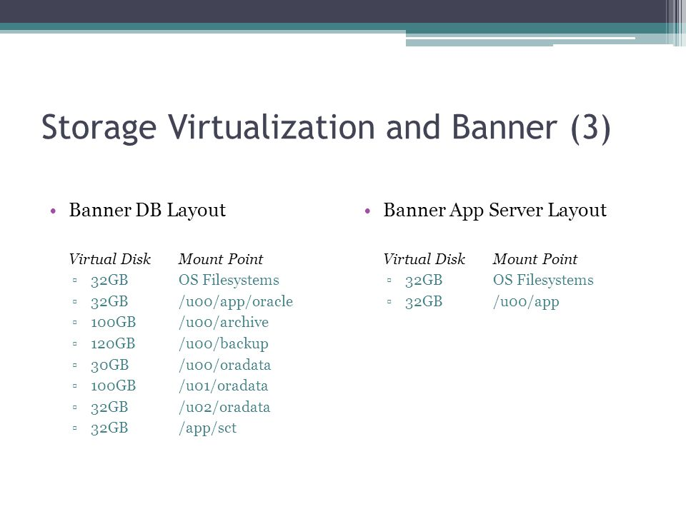 Storage Virtualization and Banner (3) Banner DB Layout Virtual DiskMount Point ▫32GB OS Filesystems ▫32GB /u00/app/oracle ▫100GB /u00/archive ▫120GB /