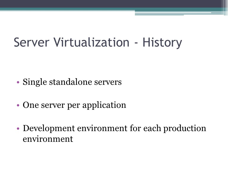Server Virtualization - History Single standalone servers One server per application Development environment for each production environment