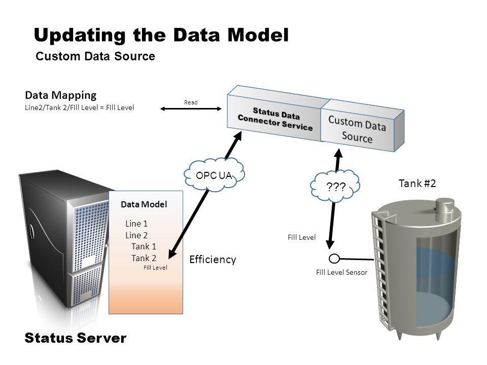Updating the Data Model Custom Data Source Status Server Data Mapping Line2/Tank 2/Fill Level = Fill Level Tank #2 Efficiency Read Fill Level Sensor .