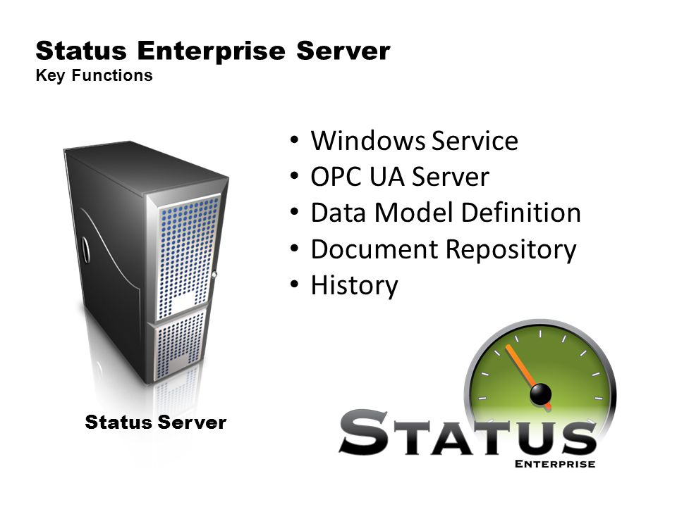 Status Enterprise Server Key Functions Status Server Windows Service OPC UA Server Data Model Definition Document Repository History