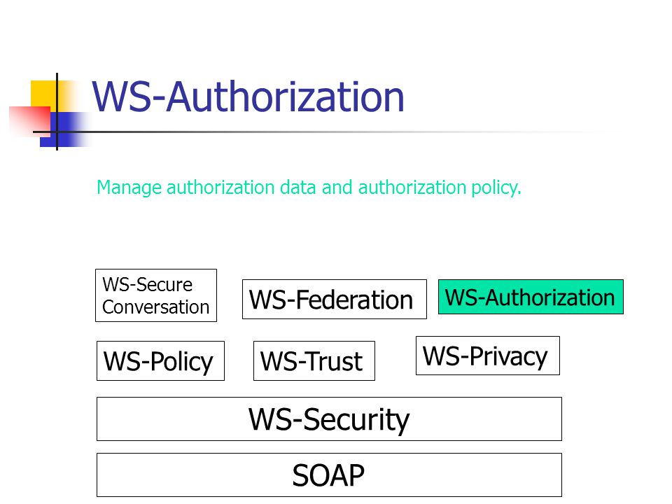 WS-Authorization SOAP WS-Security WS-PolicyWS-Trust WS-Privacy WS-Secure Conversation WS-Federation WS-Authorization Manage authorization data and aut