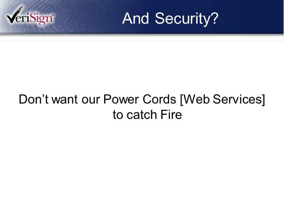 And Security? Don't want our Power Cords [Web Services] to catch Fire