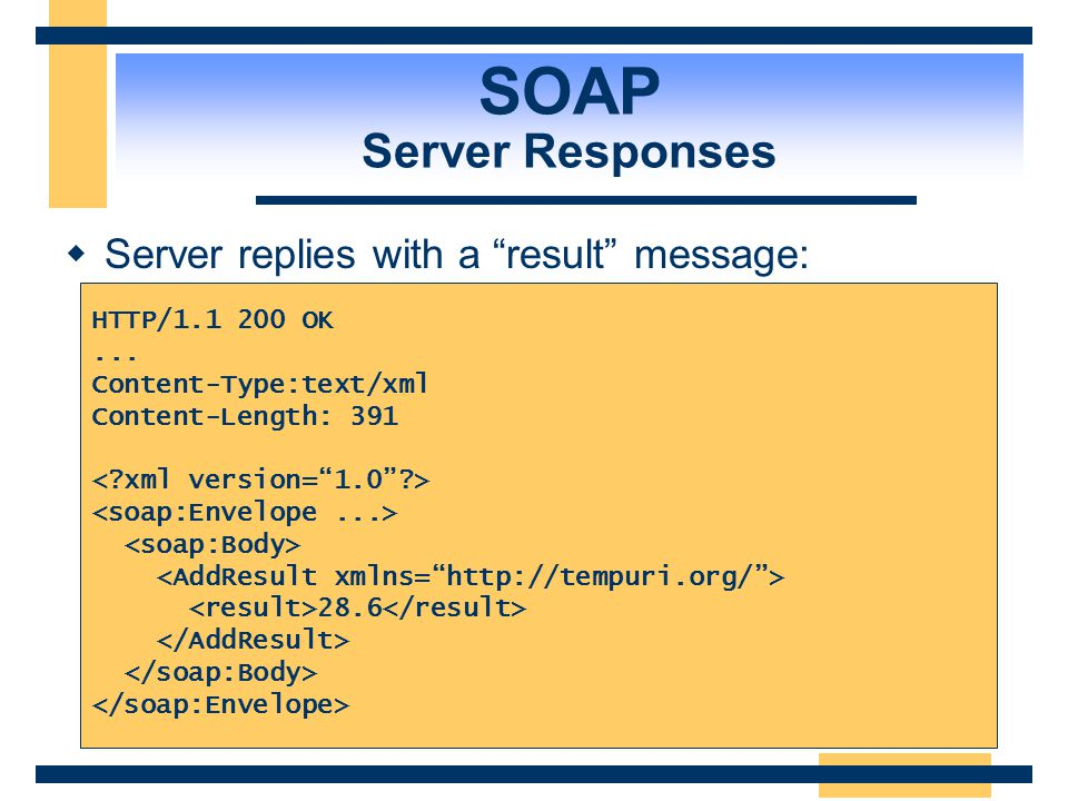 SOAP SOAP Message Format  An XML document using the SOAP schema:... 12 10