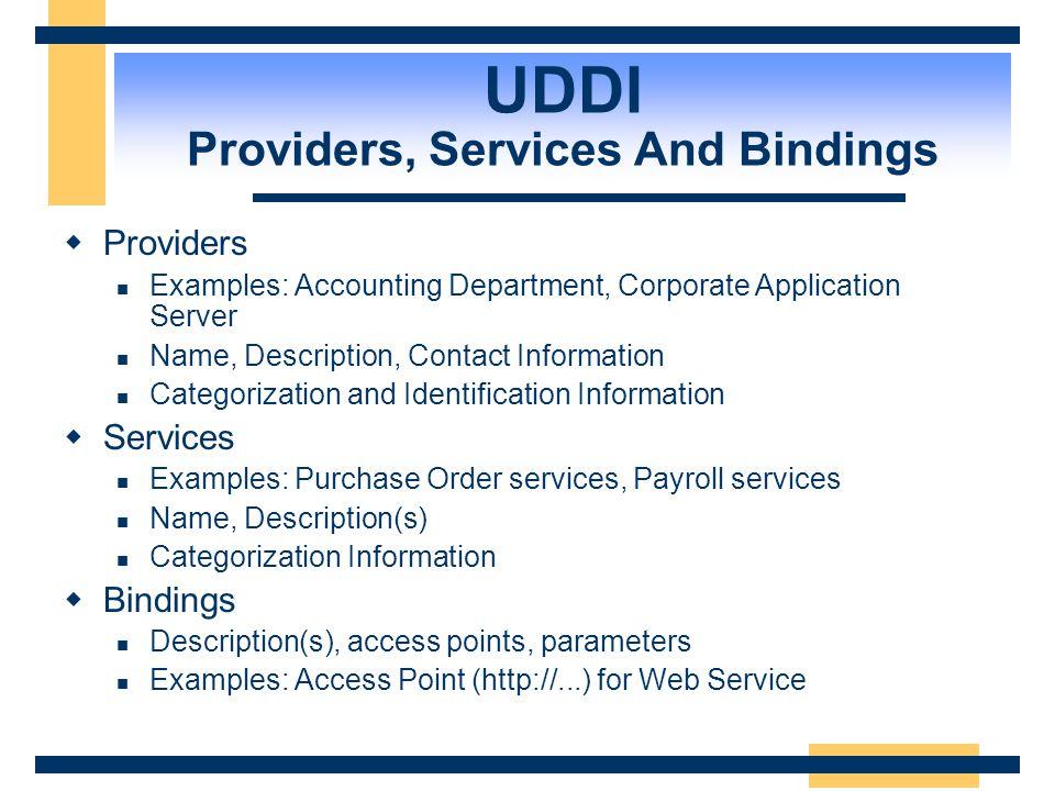 UDDI  represents meta-data and interfaces microsoft-com:creditcheck Check credit limits http://schema.com/creditcheck.wsdl <keyedReference tModelKey=