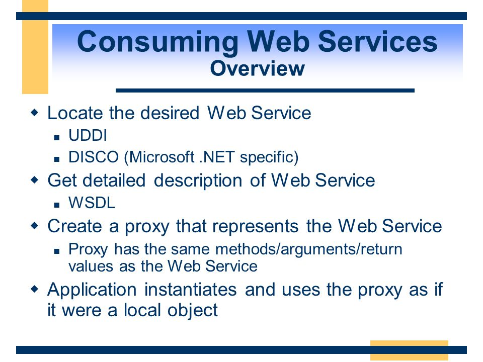 Agenda  Web Services Overview  Underlying Technologies  Developing a Web Service  Consuming Web Services  Miscellaneous .NET My Services
