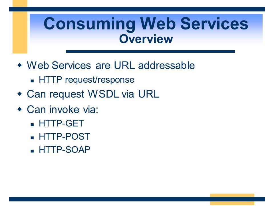 Consuming Web Services Overview Web Service Developer Web Application Developer Web Server S Service App.asmx Web Server C Service Application Proxy.c