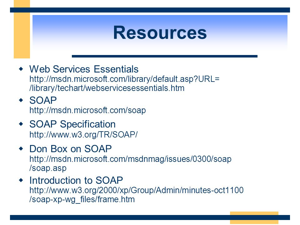Conclusion  Web Services Overview  Underlying Technologies  Developing a Web Service  Consuming Web Services  Miscellaneous .NET My Services