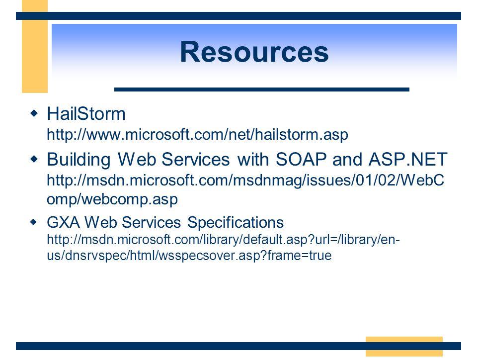 Resources  WSDL Specification http://www.w3.org/TR/wsdl http://www.w3.org/TR/wsdl  Sun Microsystems: http://java.sun.com/webserviceshttp://java.sun.