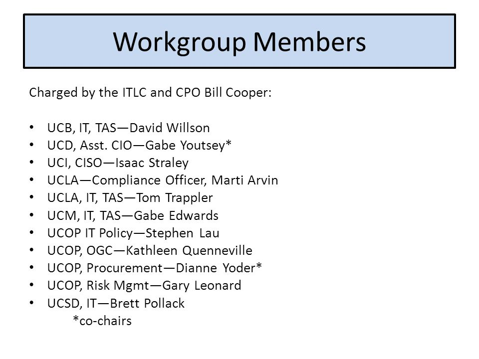 Workgroup Members Charged by the ITLC and CPO Bill Cooper: UCB, IT, TAS—David Willson UCD, Asst.