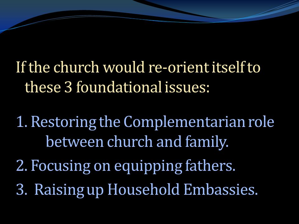 If the church would re-orient itself to these 3 foundational issues: 1.
