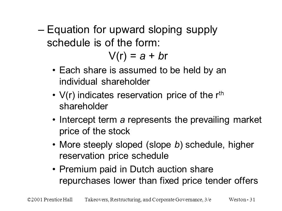 ©2001 Prentice Hall Takeovers, Restructuring, and Corporate Governance, 3/e Weston - 31 –Equation for upward sloping supply schedule is of the form: V(r) = a + br Each share is assumed to be held by an individual shareholder V(r) indicates reservation price of the r th shareholder Intercept term a represents the prevailing market price of the stock More steeply sloped (slope b) schedule, higher reservation price schedule Premium paid in Dutch auction share repurchases lower than fixed price tender offers