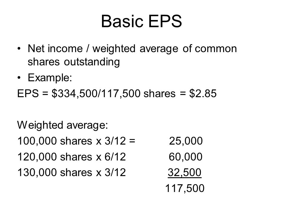Capital structures Simple capital structure –No convertible bonds, stocks, or stock options Complex capital structure –Convertible bonds, stocks, stock options (Potentially dilutive securities) –Potential dilution or possibility of conversion of these instruments creating more shares of stocks and diluting the EPS per stock Diluted EPS – calculated by adding all potentially diluted instruments to the number of shares