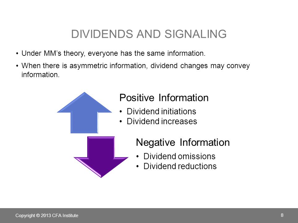 DIVIDENDS AND SIGNALING Under MM's theory, everyone has the same information. When there is asymmetric information, dividend changes may convey inform