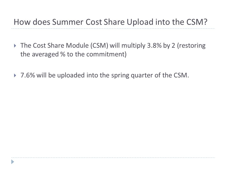 How does Summer Cost Share Upload into the CSM.