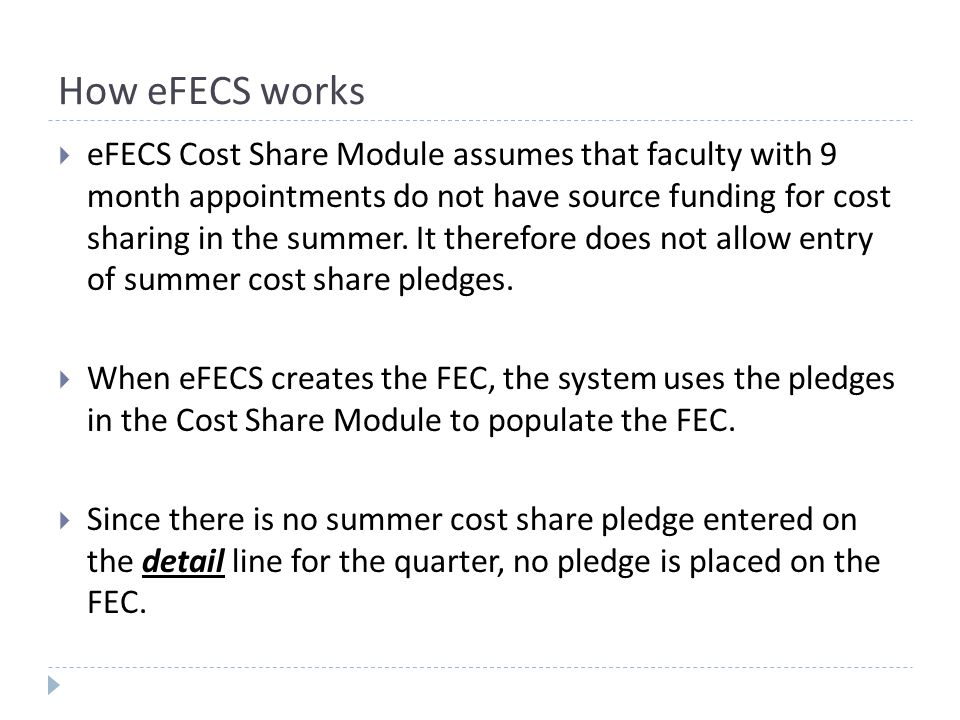 Setting up the Cost Share - GCA  GCA uses the cost share calculator spreadsheet to set up faculty effort cost share in the eFECs cost share module.