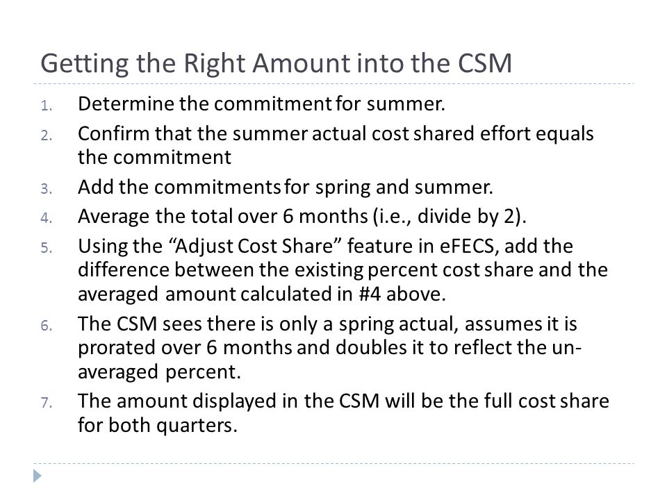 Example: Spring commitment is 5%, summer 2.5% 1.