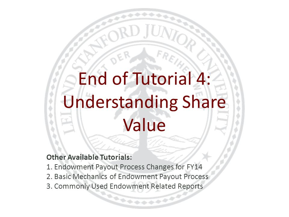 End of Tutorial 4: Understanding Share Value Other Available Tutorials: 1.