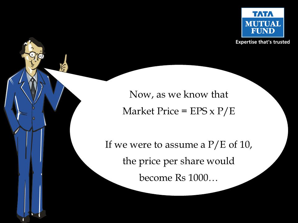 Now, as we know that Market Price = EPS x P/E If we were to assume a P/E of 10, the price per share would become Rs 1000…