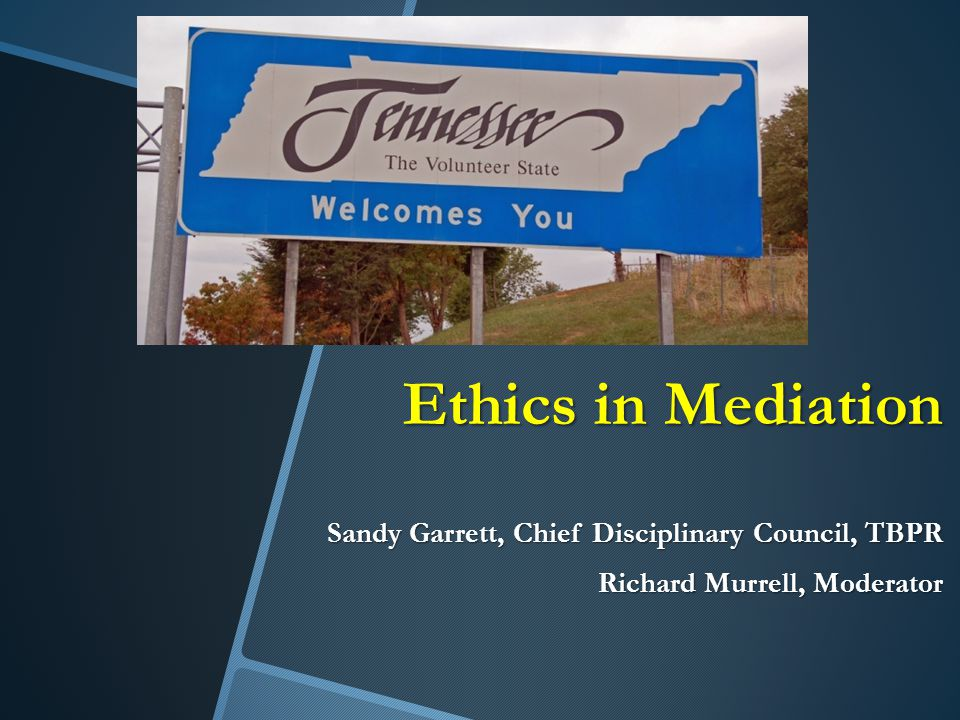 Ethics in Mediation Sandy Garrett, Chief Disciplinary Council, TBPR Richard Murrell, Moderator