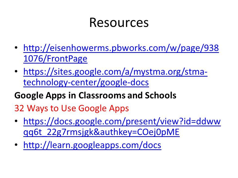 Resources http://eisenhowerms.pbworks.com/w/page/938 1076/FrontPage http://eisenhowerms.pbworks.com/w/page/938 1076/FrontPage https://sites.google.com