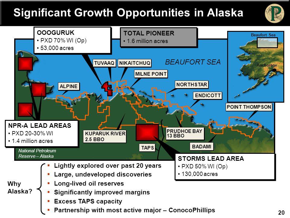 20 ALPINE TUVAAQNIKAITCHUQ MILNE POINT NORTHSTAR ENDICOTT POINT THOMPSON BADAMI BEAUFORT SEA National Petroleum Reserve – Alaska (NPR-A) PRUDHOE BAY 1