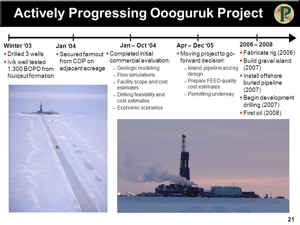 21 Winter '03  Drilled 3 wells  Ivik well tested 1,300 BOPD from Nuiqsut formation Jan '04  Secured farmout from COP on adjacent acreage Jan – Oct '04  Completed initial commercial evaluation: – Geologic modeling – Flow simulations – Facility scope and cost estimates – Drilling feasibility and cost estimates – Economic scenarios Apr – Dec '05  Moving project to go- forward decision: – Island, pipeline and rig design – Prepare FEED quality cost estimates – Permitting underway 2006 – 2008  Fabricate rig (2006)  Build gravel island (2007)  Install offshore buried pipeline (2007)  Begin development drilling (2007)  First oil (2008) Actively Progressing Oooguruk Project