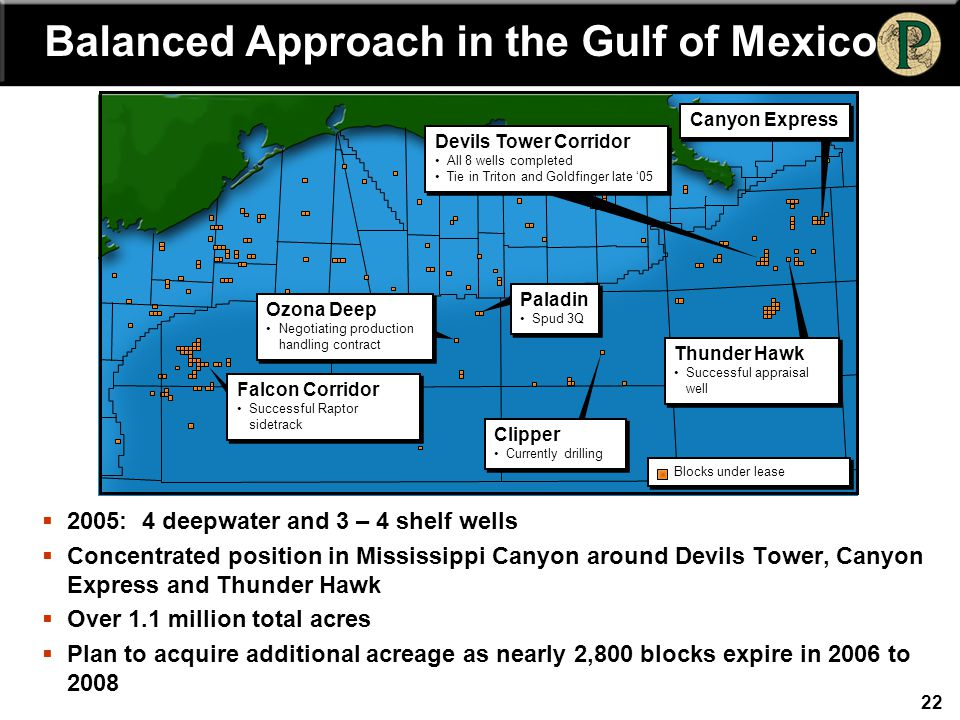 22  2005: 4 deepwater and 3 – 4 shelf wells  Concentrated position in Mississippi Canyon around Devils Tower, Canyon Express and Thunder Hawk  Over