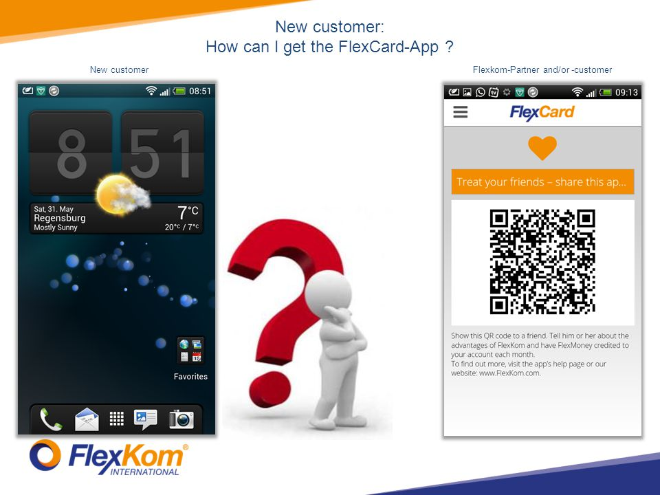 FlexCard-App Android Treat your friends – share this app Create account Configure account Function and features