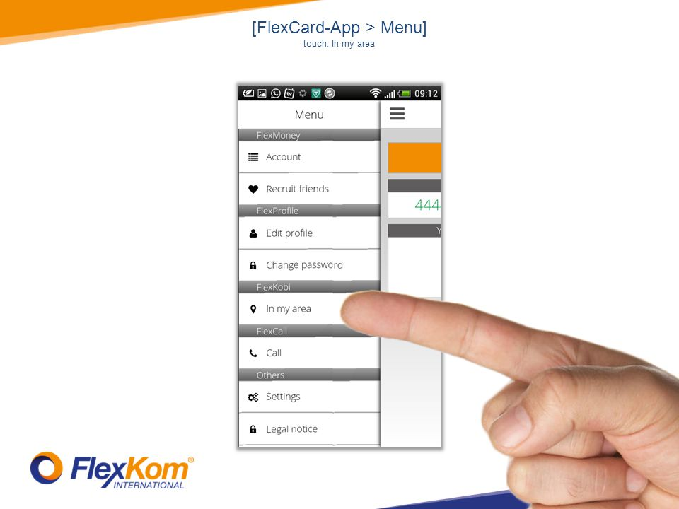 [FlexCard-App > Menu] touch: In my area