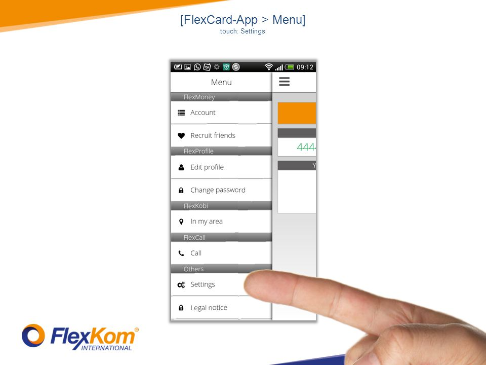 [FlexCard-App > Menu] touch: Settings