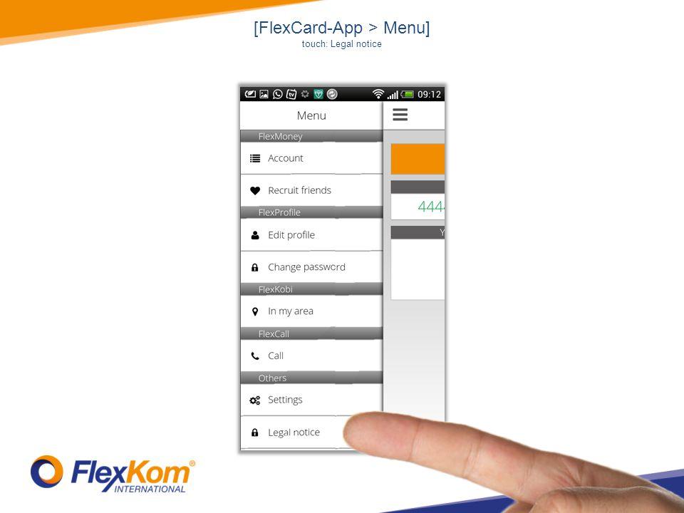 [FlexCard-App > Menu] touch: Legal notice