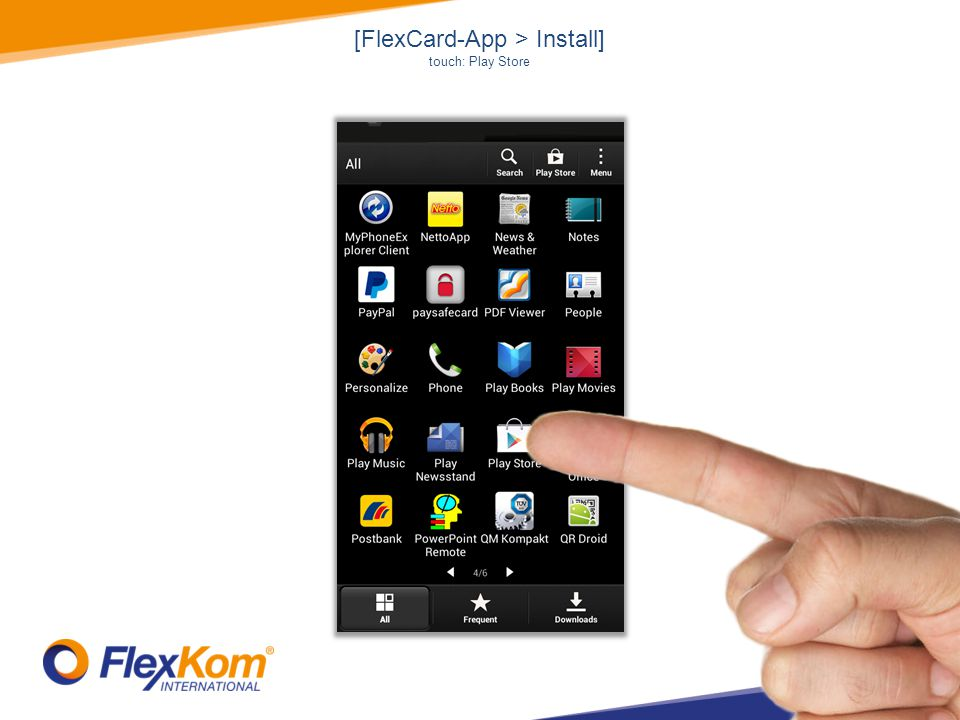 [FlexCard-App > configure account] touch: menu symbol