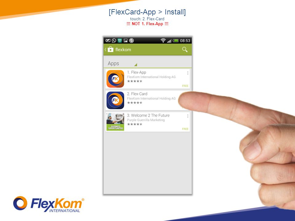 [FlexCard-App > Menu] here: generation of QR-Code touch: Treat your friends – share this app