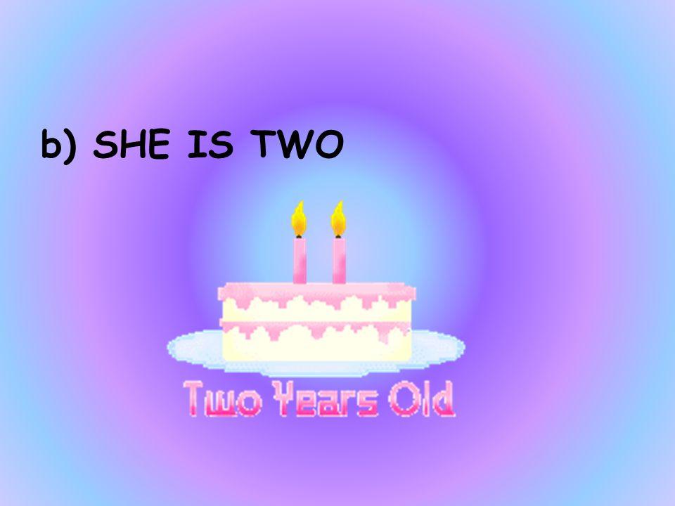 HOW OLD IS MAGGIE a)SHE IS ONE b)SHE IS TWO c)HE IS THREE