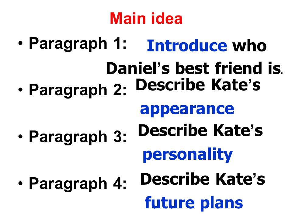 Main idea Paragraph 1: Paragraph 2: Paragraph 3: Paragraph 4: Daniel ' s best friend is.