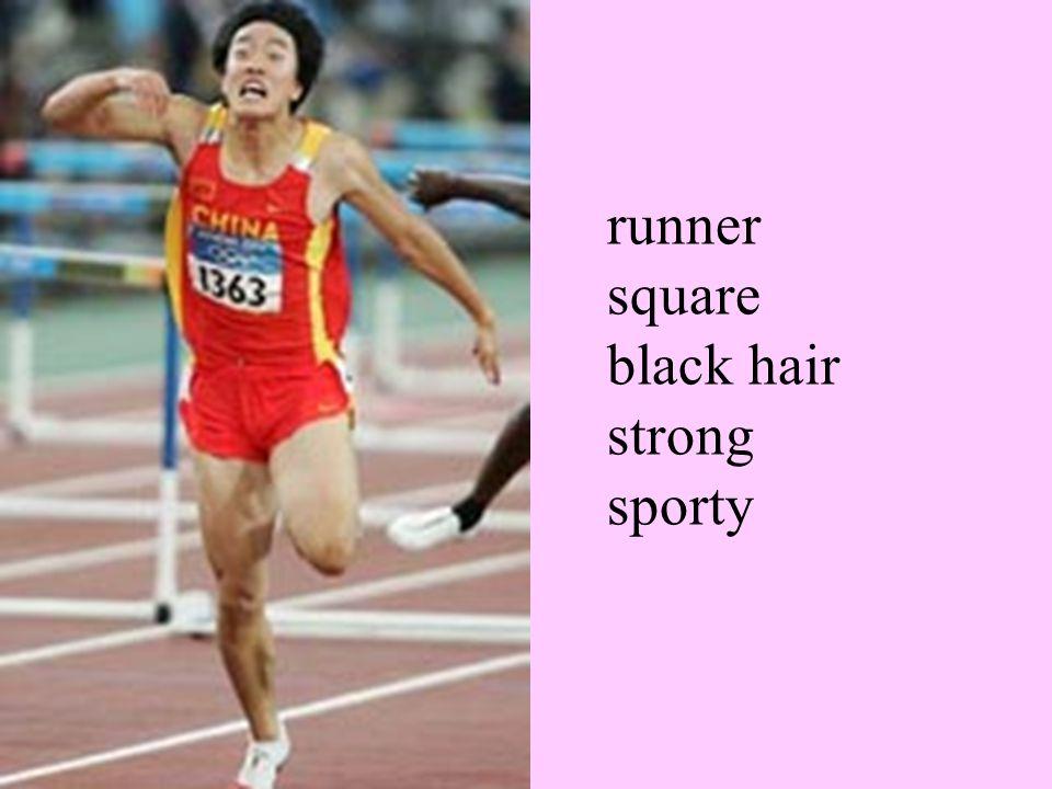 runner square black hair strong sporty