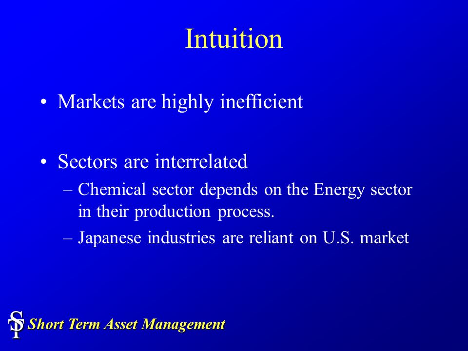 Short Term Asset Management TS Intuition Markets are highly inefficient Sectors are interrelated –Chemical sector depends on the Energy sector in their production process.