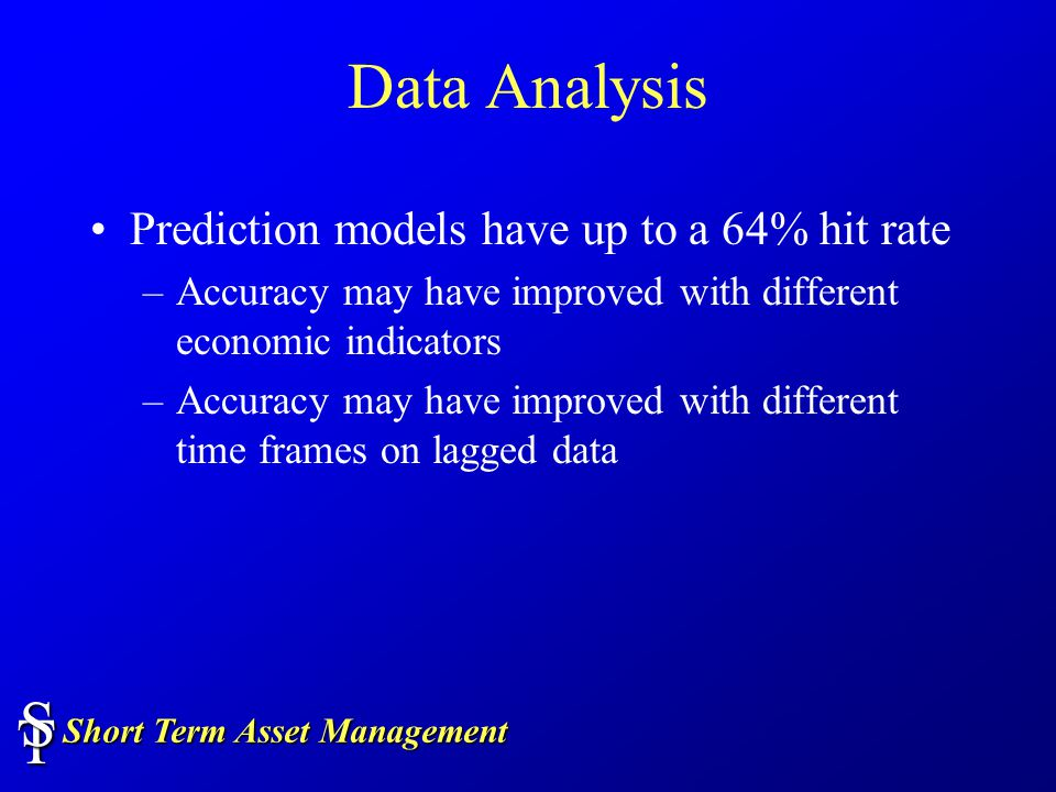 Short Term Asset Management TS Data Analysis Prediction models have up to a 64% hit rate –Accuracy may have improved with different economic indicators –Accuracy may have improved with different time frames on lagged data