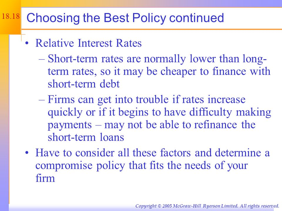18.18 Copyright © 2005 McGraw-Hill Ryerson Limited. All rights reserved. Choosing the Best Policy continued Relative Interest Rates –Short-term rates
