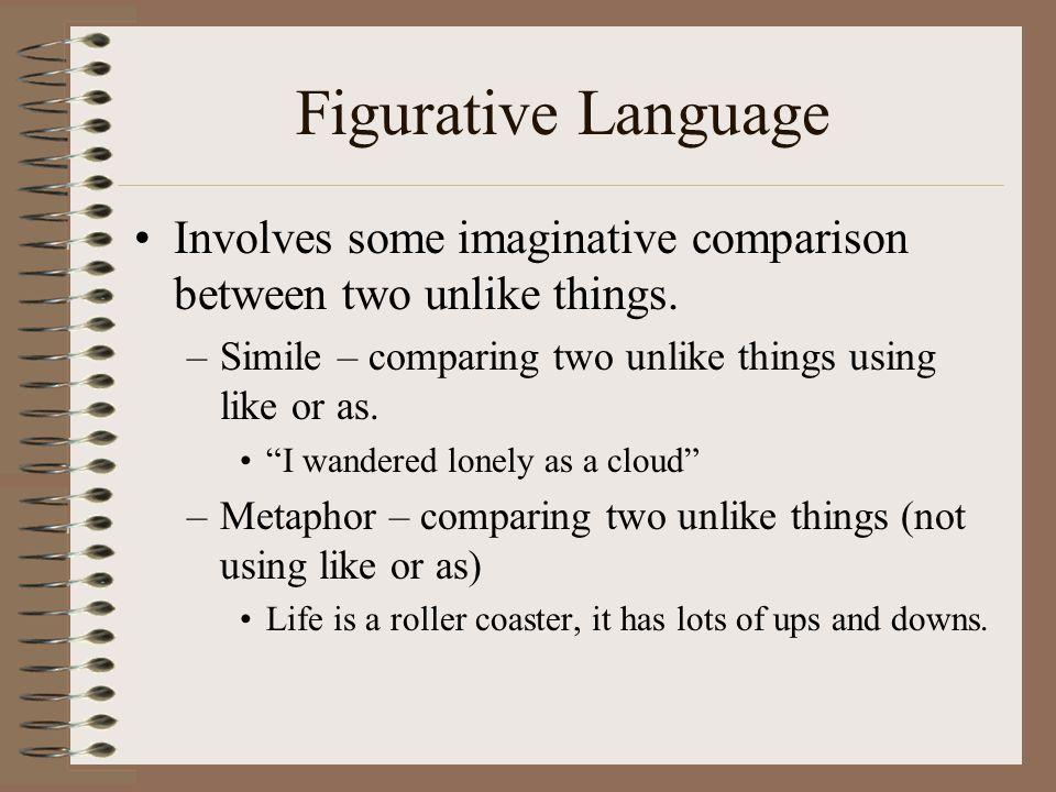"Figurative Language Involves some imaginative comparison between two unlike things. –Simile – comparing two unlike things using like or as. ""I wandere"